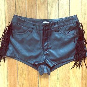 Pants - • NWT • faux leather- fringe shortie shorts •